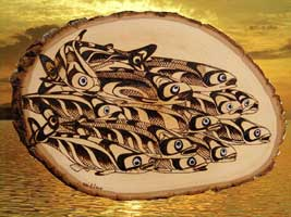 image northwest native american salmon carvings